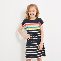 Weird Fish Cherry Printed Jersey Dress Dark Navy Size 7-8