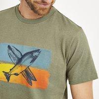 Weird Fish Fish Surf Graphic T-Shirt Khaki Green Marl Size XL