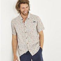 Weird Fish Elm Short Sleeve Patterned Shirt Soft Grey Size 4XL