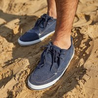 Weird Fish Harrison Canvas Lace Up Shoe Navy Size 9