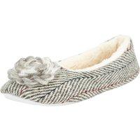 Weird Fish Minnerva Herringbone Ballerina Slipper Soft Grey Marl Size 4