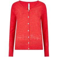 Weird Fish Curran Plain Cotton Cardigan Radical Red Size 16