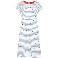 Weird Fish Tallahassee Patterned Cotton Jersey Dress Light Cream Size 16