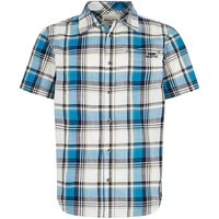 Weird Fish Modbury Short Sleeve Checkered Shirt Blue Wash Size S