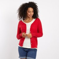 Weird Fish Curran Plain Cotton Cardigan Radical Red Size 8
