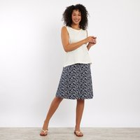 Weird Fish Malmo Patterned Jersey Skirt Dark Navy Size 10