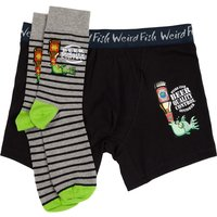 Weird Fish Brien Boxer & Sock Set Black Multi Size L