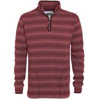 Weird Fish Storm 1/4 Zip Striped Soft Knit Fleece Pinot Red Size 2XL