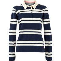 Weird Fish Ellinor Organic Cotton Stripe Rugby Shirt  Navy Size 14