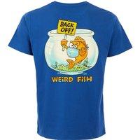 Weird Fish Back Off Organic Cotton Artist T-Shirt True Blue Size L