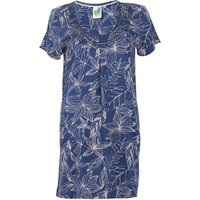 Weird Fish Santo Embroidered Viscose Tunic Ensign Blue Size 8