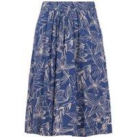 Weird Fish Bonnie Printed Viscose Midi Skirt Ensign Blue Size 10