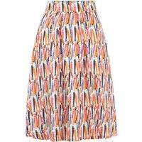 Weird Fish Bonnie Printed Viscose Midi Skirt Light Cream Size 16