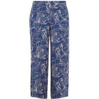 Weird Fish Tresco Printed Wide Leg Crop Trousers Ensign Blue Size 20
