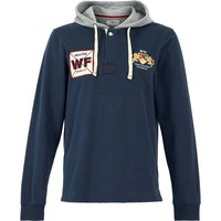 Weird Fish Sonny Organic Cotton Hooded Rugby Shirt  Navy Size M