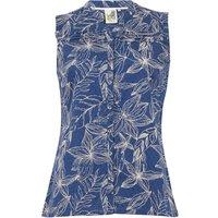 Weird Fish Lazio Organic Cotton Printed Sleeveless Shirt Ensign Blue Size 14