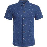 Weird Fish Peale Printed Linen Rich Shirt Navy Size 3XL