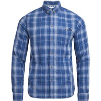 Weird Fish Lindale Cotton Double Faced Long Sleeve Check Shirt Ensign Blue Size L