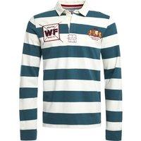 Weird Fish Leigh Organic Long Sleeve Striped Rugby Shirt Petrol Blue Size XL