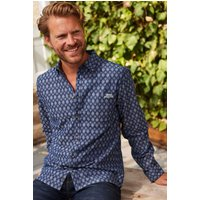 Weird Fish Drayton Long Sleeve Jacquard Denim Shirt Denim Size M