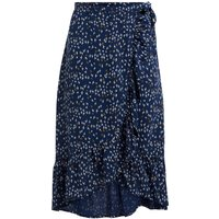 Weird Fish Alba EcoVero Printed Wrap Skirt Ensign Blue Size 10