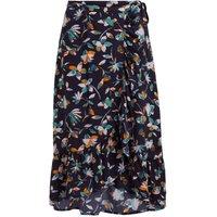 Weird Fish Alba EcoVero Printed Wrap Skirt Grape Size 16