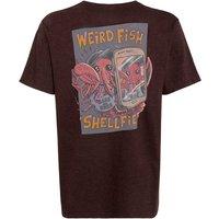 Weird Fish Shelfie Boy's Printed Artist T-Shirt Conker Marl Size 7-8