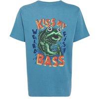 Weird Fish Kiss My Bass Printed Artist T-Shirt Adriatic Blue Size L