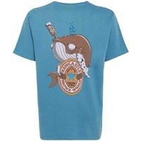 Weird Fish Brown Whale Printed Artist T-Shirt Adriatic Blue Size L