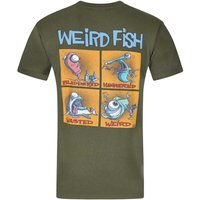 Weird Fish Battered Printed Artist T-Shirt Olive Night Size L