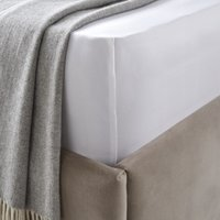 Sateen Deep Fitted Sheet, White, Double
