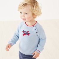 Aeroplane Jumper, Pale Blue, 3-6mths