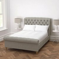 Aldwych Bed Tweed Natural Oak Leg, Tweed Mid Grey, King