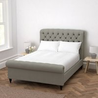 Aldwych Scroll Deep Buttoned Bed, Grey Cotton, King
