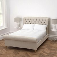 Aldwych Scroll Deep Buttoned Bed, Natural Linen Union, King