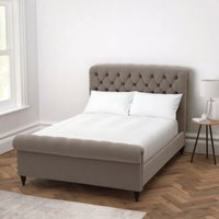 Aldwych Scroll Deep Buttoned Bed, Silver Grey Velvet, Emperor