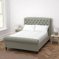 Aldwych Scroll Deep Buttoned Bed, Light Grey Wool, Super King
