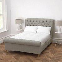 Aldwych Bed Tweed Natural Oak Leg, Tweed Mid Grey, Emperor