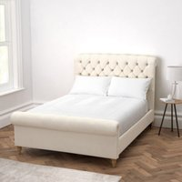 Aldwych Scroll Deep Buttoned Bed, Pearl Cotton, Super King