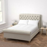 Aldwych Scroll Deep Buttoned Bed, Silver Cotton, Double