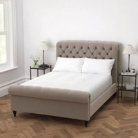 Aldwych Scroll Deep Buttoned Bed, Stone Velvet, Emperor