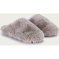 All-Over Faux-Fur Mule Slippers, Dark Grey, M(5/6)