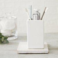 Newcombe Ceramic Toothbrush Holder, White, One Size