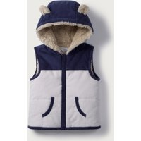 Bear Ears Hooded Gilet, Blue/Grey, 3-6mths