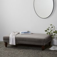 Beaufort Ottoman, Dark Stained Beech Leg, Silver Grey Velvet, One Size
