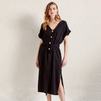 Belted Button Through Dress with Linen
