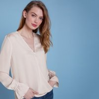Satin Wrap Button Front Blouse