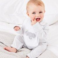 Stripe Sleepsuit & Elephant Bib Set