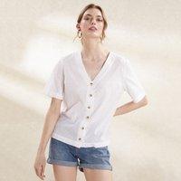 Cotton Button Front Blouse
