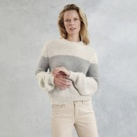 Balloon-Sleeve Stripe Jumper with Alpaca , Oatmeal Marl, 14